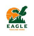 eagle and mountain logo design template vector image vector image