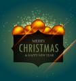 elegant merry christmas greeting design with vector image vector image