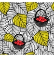 Endless doodle background with autumn leaves and vector image vector image