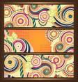 Ethnic Pattern Cards With Paisley Doodles vector image vector image