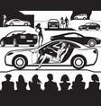 Fashion model presents new car at auto show