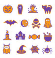 halloween icon set on white background vector image vector image