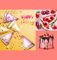 happy birthday card with cake and birthday hats vector image