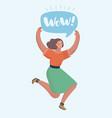happy woman jumping celebrating success vector image vector image