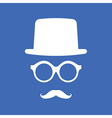Hat Eyeglasses and Mustache White Graphic on Blue vector image vector image