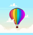 hot air balloon in sky romantic flight in clouds vector image vector image