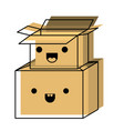 kawaii cardboard boxes stacked in watercolor vector image