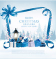merry christmas background with presents and blue vector image vector image