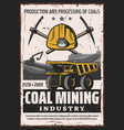 mining industry extraction coal vector image vector image