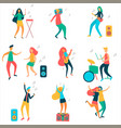 modern girls and guys are dancing and having fun vector image vector image
