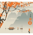 Mountain landscape in the Chinese or Japanese vector image vector image