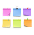 notes colored sticky papers with pin clips memo vector image
