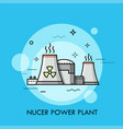 nuclear power plant or station with cooling towers vector image