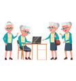 old woman poses set elderly people senior vector image vector image