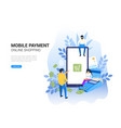 online and mobile payments concept pos terminal vector image vector image