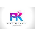 pk p k letter logo with shattered broken blue vector image vector image