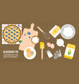poster of blueberry pie ingredients and utensils vector image