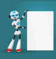 robot holding blank poster for text on blue back vector image vector image