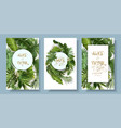 ropical leaves wedding invitation card set vector image