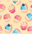 seamless pastel high detail cupcake pattern vector image