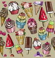 seamless pattern with yummy colorful ice cream vector image