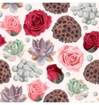 Seamless succulent and roses vector image vector image