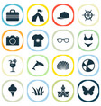 season icons set with camera tent fresh juice vector image