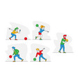 set character playing bowling young men vector image