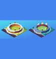 set isolated day and night stadiums for cricket vector image vector image