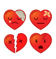 set of broken heart icon vector image