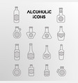 Set of linear icons of alcohol bottles