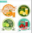 set of organic fruit labels vector image vector image