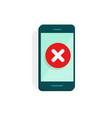 smartphone with error alert vector image vector image