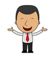 smiling cartoon businessman opens his arms vector image