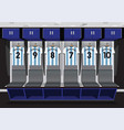 soccer dressing rooms team football blue sport vector image vector image