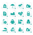 stylized insurance and risk icons vector image vector image