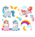 unicorn cute magic animals happy birthday symbols vector image vector image