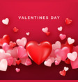 valentines card with red shiny hearts bright vector image