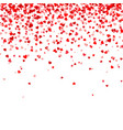 valentines day falling red hearts on white vector image