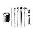 vintage paint brushes set and paint can hand vector image vector image