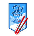 winter background with skiing equipment snowy vector image vector image