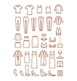 Womens clothing female fashion line icons vector image vector image