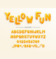 yellow fun font and alphabet type with vector image vector image