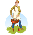 Young handsome man at a barbecue grill vector image