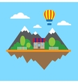 Mountains and building vector image