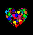 rainbow heart icon made of multicolored hand vector image