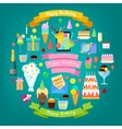 Happy Birthday Party Elements Set with Cake vector image