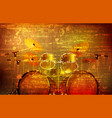abstract grunge background with drum kit vector image vector image