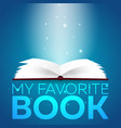 book poster open book with mystic bright light on vector image