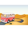 bus in a desert vector image vector image